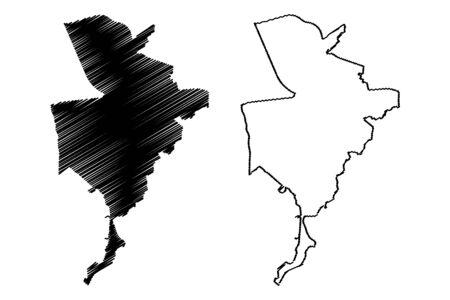 Breda City (Kingdom of the Netherlands, Holland, North Brabant) map vector illustration, scribble sketch City of Breda map
