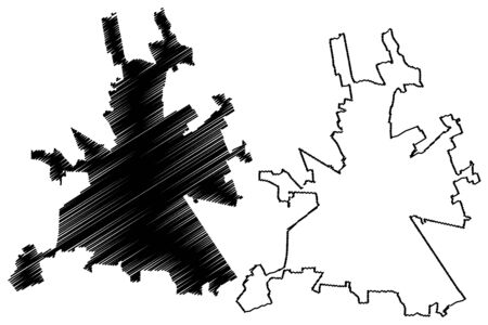 Novara City (Italian Republic, Italy, Piedmont) map vector illustration, scribble sketch City of Novara map