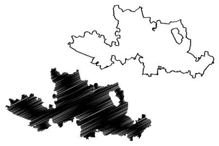 Pardubice City (Czech Republic, Czechia) map vector illustration, scribble sketch City of Pardubice map