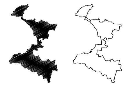 Taranto City (Italian Republic, Italy, Apulia) map vector illustration, scribble sketch City of Taranto map