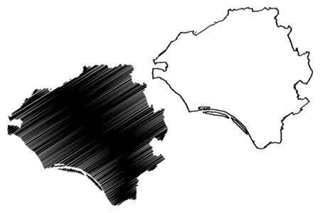 Wiesbaden City (Federal Republic of Germany, Hesse) map vector illustration, scribble sketch City of Wiesbaden map