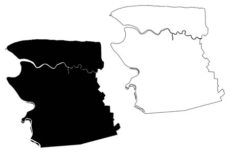 Commewijne District (Surinam, Republic of Suriname) map vector illustration, scribble sketch Commewijne map