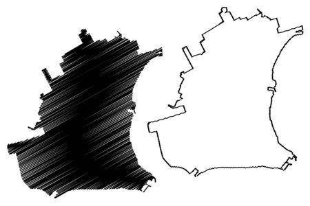 Taganrog City (Russian Federation, Russia, Rostov Oblast) map vector illustration, scribble sketch City of Taganrog map
