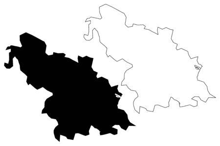 Rangpur City (Peoples Republic of Bangladesh) map vector illustration, scribble sketch City of Rangpur map