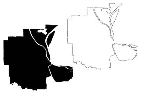 Phnom Penh City (Kingdom of Cambodia, Kampuchea) map vector illustration, scribble sketch City of Krong Chaktomuk Serimongkul map Иллюстрация