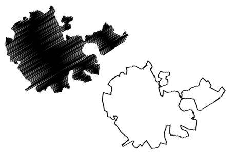 Tarsus City (Republic of Turkey) map vector illustration, scribble sketch City of Tarsus map