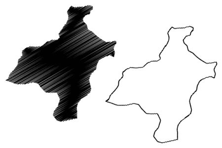 Pemagatshel District (Districts of Bhutan, Kingdom of Bhutan) map vector illustration, scribble sketch Pema Gatshel map