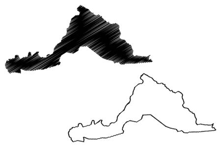 Sarpang District (Districts of Bhutan, Kingdom of Bhutan) map vector illustration, scribble sketch Sarpang map Çizim