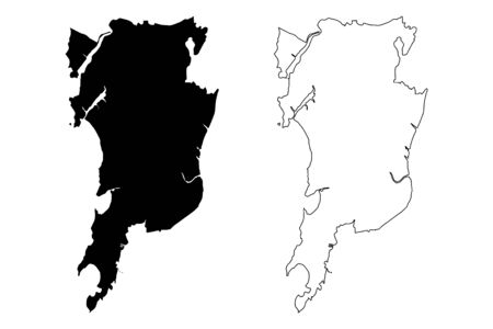 Mumbai City (Republic of India, Maharashtra State) map vector illustration, scribble sketch City of Bombay map Çizim