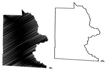 Brooks County, Georgia (U.S. county, United States of America,USA, U.S., US) map vector illustration, scribble sketch Brooks map