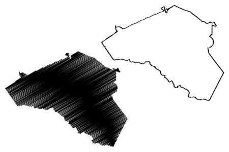 Clarke County, Georgia (U.S. county, United States of America,USA, U.S., US) map vector illustration, scribble sketch Clarke map