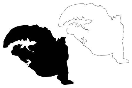 Bhopal City (Republic of India, Madhya Pradesh State) map vector illustration, scribble sketch City of Bhopal map Illustration