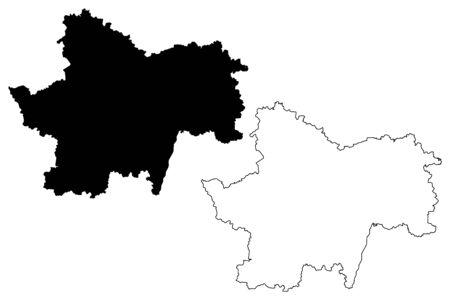 Saone-et-Loire Department (France, French Republic, Bourgogne-Franche-Comte region, BFC) map vector illustration, scribble sketch Saone et Loire map