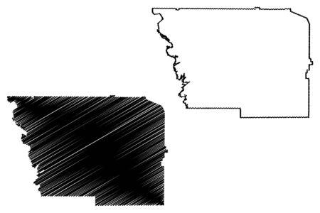 Harris County, Georgia (U.S. county, United States of America,USA, U.S., US) map vector illustration, scribble sketch Harris map Illustration