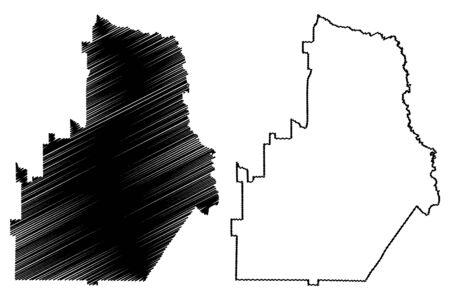 Houston County, Georgia (U.S. county, United States of America,USA, U.S., US) map vector illustration, scribble sketch Houston map