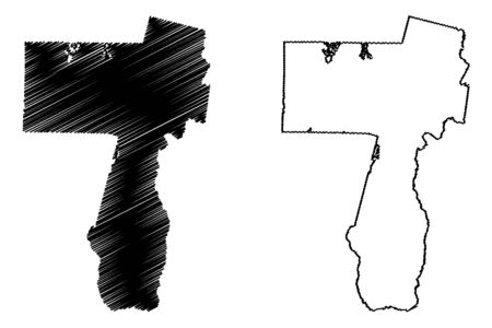 Charlton County, Georgia (U.S. county, United States of America,USA, U.S., US) map vector illustration, scribble sketch Charlton map