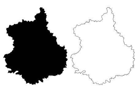 Eure-et-Loir Department (France, French Republic, Centre-Val de Loire region) map vector illustration, scribble sketch Eure et Loir map