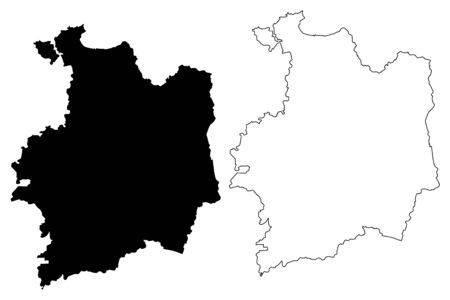 Ille-et-Vilaine Department (France, French Republic, Brittany or Bretagne region) map vector illustration, scribble sketch Ille et Vilaine map Illustration