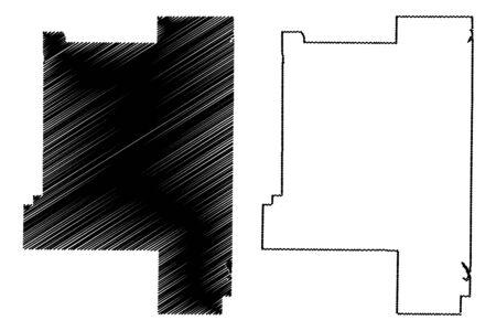 Lamar County, Georgia (U.S. county, United States of America,USA, U.S., US) map vector illustration, scribble sketch Lamar map