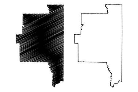 Lanier County, Georgia (U.S. county, United States of America,USA, U.S., US) map vector illustration, scribble sketch Lanier map