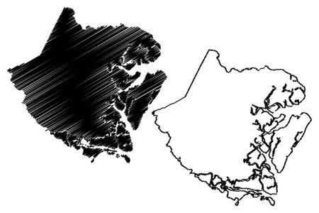 McIntosh County, Georgia (U.S. county, United States of America,USA, U.S., US) map vector illustration, scribble sketch McIntosh map
