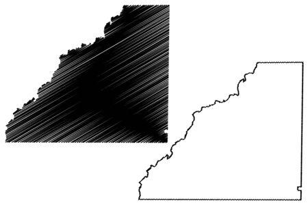 Mitchell County, Georgia (U.S. county, United States of America,USA, U.S., US) map vector illustration, scribble sketch Mitchell map Illustration