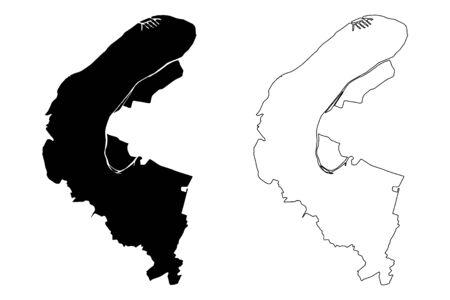 Hauts-de-Seine Department (France, French Republic, Ile-de-France region) map vector illustration, scribble sketch Hauts de Seine map Illustration