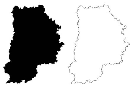 Seine-et-Marne Department (France, French Republic, Ile-de-France region) map vector illustration, scribble sketch Seine et Marne map Vettoriali