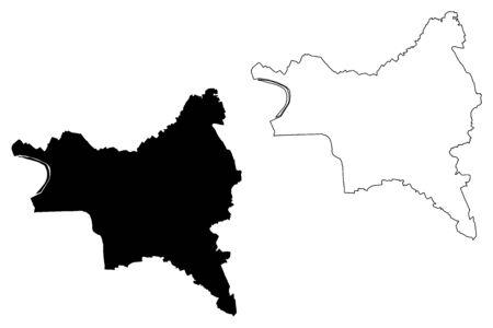 Seine-Saint-Denis Department (France, French Republic, Ile-de-France region) map vector illustration, scribble sketch Seine Saint Denis map