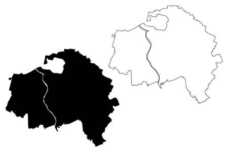 Val-de-Marne Department (France, French Republic, Ile-de-France region) map vector illustration, scribble sketch Val de Marne map Illustration