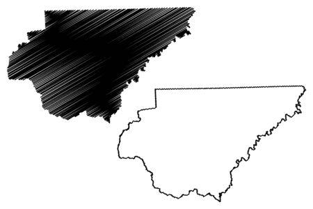 Rabun County, Georgia (U.S. county, United States of America,USA, U.S., US) map vector illustration, scribble sketch Rabun map