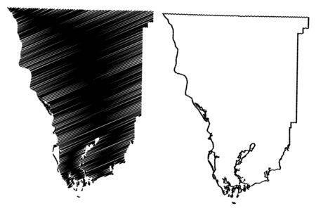 Seminole County, Georgia (U.S. county, United States of America,USA, U.S., US) map vector illustration, scribble sketch Seminole map