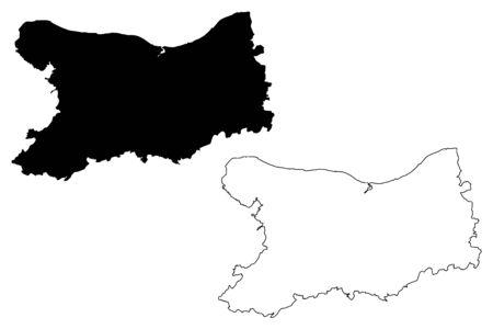 Calvados Department (France, French Republic, Normandy or Normandie region) map vector illustration, scribble sketch Calvados map Vettoriali