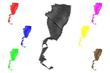 Braila City (Republic of Romania) map vector illustration, scribble sketch City of Braila map