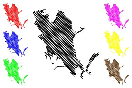 Cagliari City (Italian Republic, Italy, Sardinia) map vector illustration, scribble sketch City of Cagliari amap