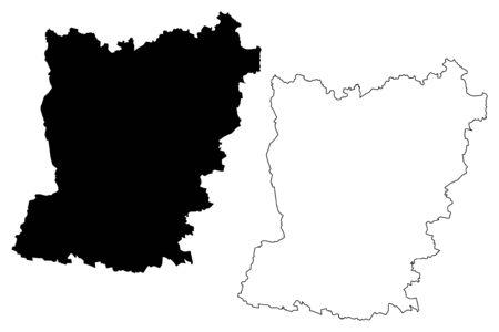 Mayenne Department (France, French Republic, Pays de la Loire region) map vector illustration, scribble sketch Mayenne map