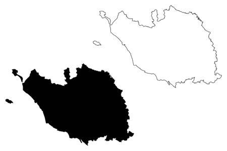 Vendee Department (France, French Republic, Pays de la Loire region) map vector illustration, scribble sketch Vendee map