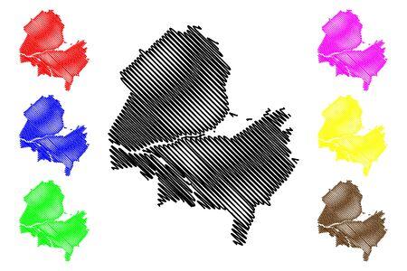 Geneva City (Swiss Confederation, Switzerland) map vector illustration, scribble sketch City of Geneva map Vectores