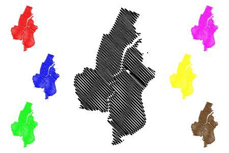 Haarlem City (Kingdom of the Netherlands, North Holland) map vector illustration, scribble sketch City of Haarlem map
