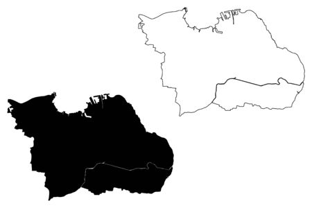 Surabaya City (Republic of Indonesia, Java island) map vector illustration, scribble sketch City of Surabaya map
