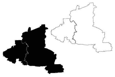 Tangerang City (Republic of Indonesia, Java island) map vector illustration, scribble sketch City of Tangerang map