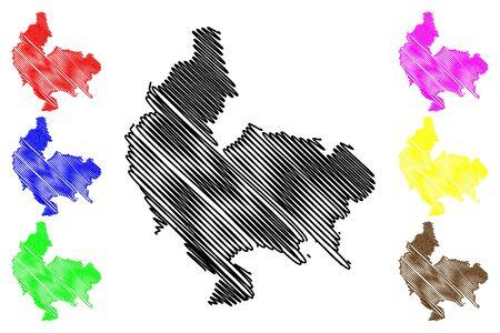Koszalin City (Republic of Poland, West Pomeranian Voivodeship) map vector illustration, scribble sketch City of Koszalin map