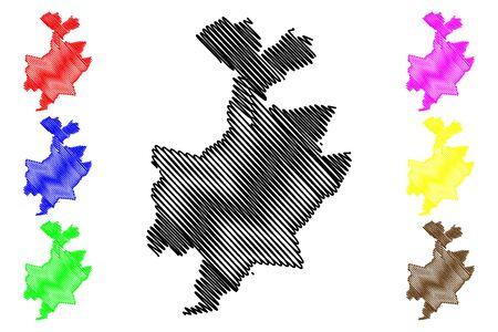 Leuven City (Kingdom of Belgium, Flemish Region) map vector illustration, scribble sketch City of Louvain map