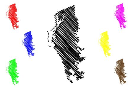 Livorno City (Italian Republic, Italy, Tuscany) map vector illustration, scribble sketch City of Leghorn map