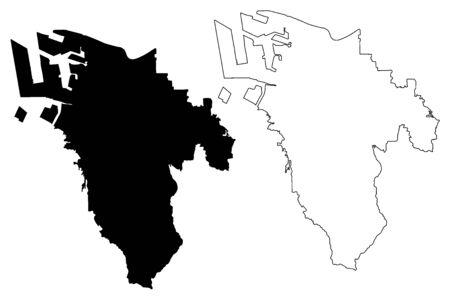Sakai City (State of Japan, island country, Osaka Prefecture) map vector illustration, scribble sketch City of Sakai map
