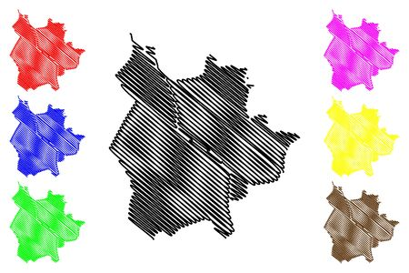 Salzburg City (Republic of Austria) map vector illustration, scribble sketch City of Salzburg map