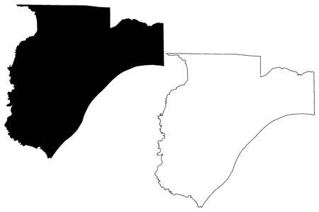 Pulaski County, Illinois (U.S. county, United States of America, USA, U.S., US) map vector illustration, scribble sketch Pulaski map