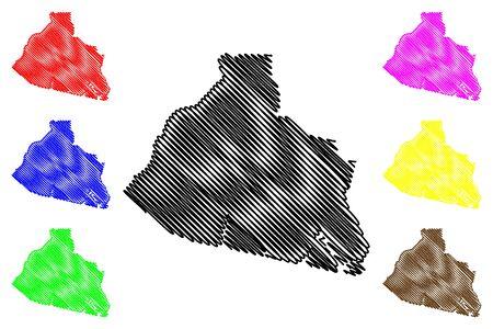 Zaanstad Municipality (Kingdom of the Netherlands, North Holland) map vector illustration, scribble sketch City of Zaanstad map