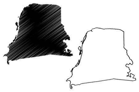 Nickerie District (Surinam, Republic of Suriname) map vector illustration, scribble sketch Nickerie map