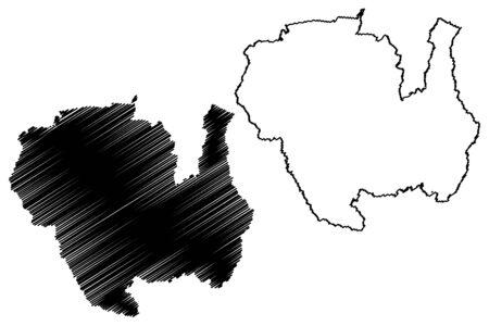 Sipaliwini District (Surinam, Republic of Suriname) map vector illustration, scribble sketch Sipaliwini map